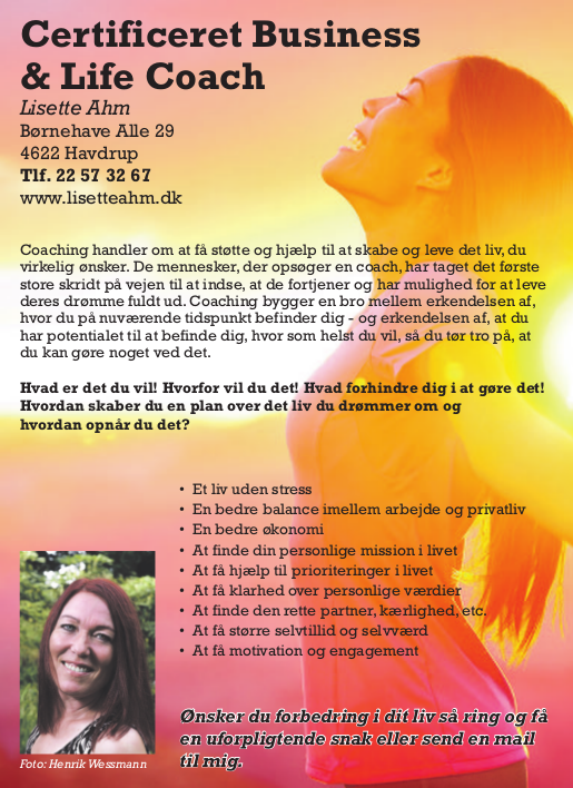 Lisette Ahm - certificeret Business og Life Coach